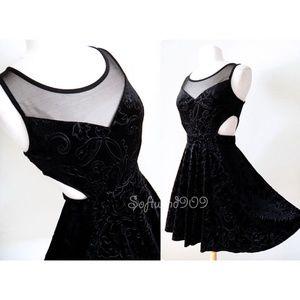 Black Velvet Mesh Inset Cutout Skater Party Dress